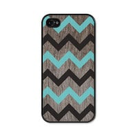 Chevron iPhone 5 Case - Plastic iPhone 5 Cover -  Wood iPhone 5 Skin - Turquoise Blue Black and Brown Woodgrain Cell Phone