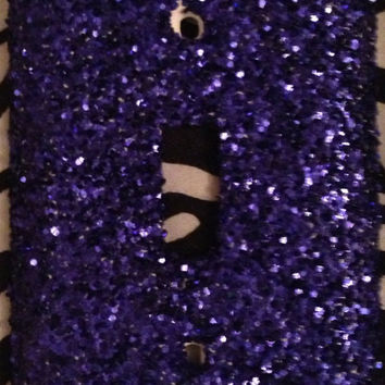 Royal Blue Coarse Glittered Outlet OR Light Switch Cover