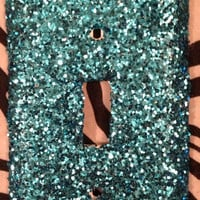 Glittered Coarse Aqua Light Switch OR Outlet