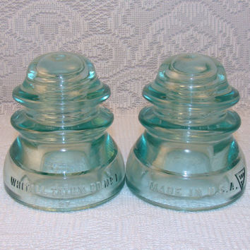 Vintage insulators two 2 aqua blue glass from for Glass insulators crafts