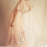 1920&#x27;s SILK Embroider Sheer WEDDING GOWN