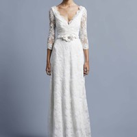 French Corded Bridal Lace Long Sleeve Wedding Dress