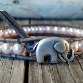 Pink Swarovski Pearl Bracelet, Good Luck Elephant, Beaded Leather Wrap, Shabby Chic, Mothers Day Gift