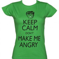 Ladies Green Keep Calm Don't Make Me Angry Incredible Hulk T-Shirt : TruffleShuffle.com