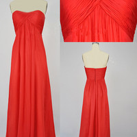 Cheap New Style 2013 Strapless Sweetheart Long Red Chiffon Prom Bridesmaid Evening Dresses