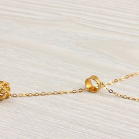 "Lariat gold necklace, bridesmaid gift, knot necklace, gold vermeil, circle necklace, modern minimalist, ""Ianthe"" Necklace"