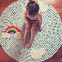 Crochet Rug Rainbow and Clouds Light Blue Cotton Crochet Appliques Four Foot Children&#x27;s Nursery Rug as Featured on EtsyKids