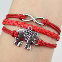 silvery elephant bracelet infinity karma bracelet red leather bacelet jewelry charm bacelet personalized gift -n1164