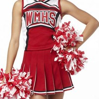 Ladies Costume Fancy Dress Up Red Cheerleader 2pc Glee Sz 6,8,10,12