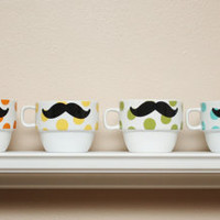 Stacking Mustache Mug Set Multi Colored Polka by TheBeautifulHome