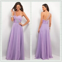Purple A-line Chiffon Floor-Length Prom Dress/Graduation Dress