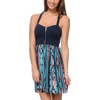 Love, Fire Navy Stripe Tribal Print Zipper Dress