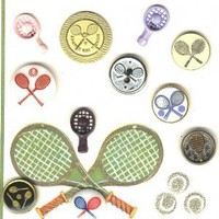 Tennis  buttons Card of vintage and modern