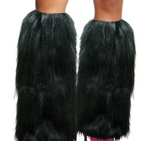 Rave Diva Costume Black Sexy Furry Fuzzy Leg Warmers
