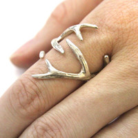 Silver Deer Antler Ring -Sterling Overlay on Solid White Bronze by Moon Raven Designs