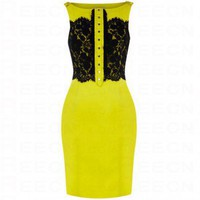Bqueen Hard Lace Dress Yellow K386Y
