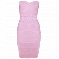 Bqueen Strapless Bandage Dress Purple H011P