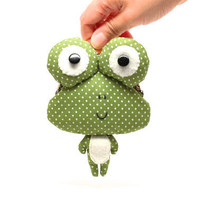 Little green frog clutch purse by misala on Etsy