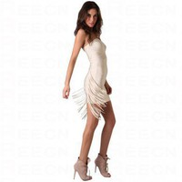 Bqueen Strapless Dress with Fringe H271X