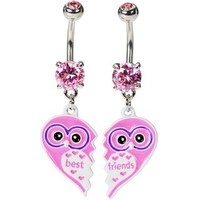Best Friend Owl Belly Button Rings --- Pink -- Cute Hipster -- Free Ship!