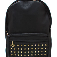 studded-faux-leather-backpack BLACKGOLD - GoJane.com