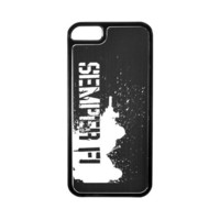 Apple iPhone 5 Hard Back Cover w/ Black Aluminum Back - Marine