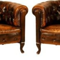 One Kings Lane - Kimberly & Darrell Lynn - Vintage Chesterfield Chairs, Pair