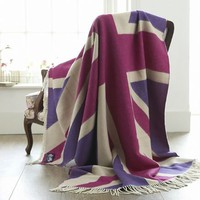 Pink Merino wool Union Jack throw