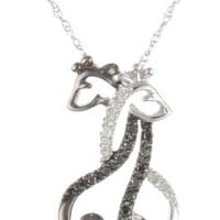"XPY 10k White Gold Black and White Giraffe Couple Diamond Pendant Necklace, 18"": Jewelry"