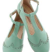 Joy and Merriment Flat in Mint | Mod Retro Vintage Flats | ModCloth.com