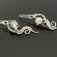 Wire wrapped jewelry, handmade wire wrapped jewelry, Frosted Irisquartz earrings, handmade wire wrapped earrings