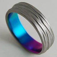 Titanium Ring , The Sphinx Band in Sunset Purple,New Beginning Blue and Immortal Green