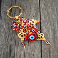 Red Evil Eye Beaded Pomegranate Keychain