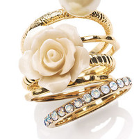 Ariella Collection Flower &amp; Faux Pearl Stack Rings (Set of 5) (Nordstrom Exclusive) | Nordstrom