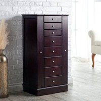 Exquisite Jewelry Armoire with Quilted Pullout Storage - Espresso | www.hayneedle.com