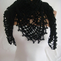 Valentine's Day discount, Hand crocheted, beaded (Black) elegant magic shawl, scarf by Arzu's Style