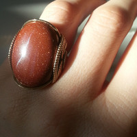 Gold Goldstone Ring, Statement Ring, Sparkly Ring, Caramel Butterscotch Amber Sunshine, Spring