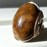 Gold Mustard Ring, Agate, Unique Stone, Brown, Natural Gemstone, Bold, Mens Ring, Unisex