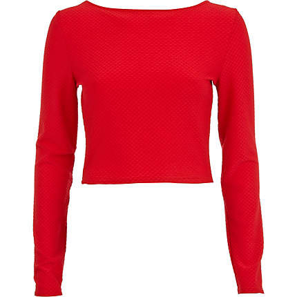 Red Textured Long Sleeve Crop Top Crop From River Island