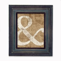 Ampersand Print Wall Art  Distressed Look  White by littleredflag