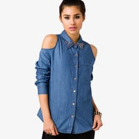 Cutout Shoulder Chambray Shirt