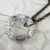 Large Swarovski Clear Crystal Ring Necklace Brass by CobwebCorner