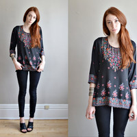 Vtg 70s 80s hippie silky shirt // floral paisley SCARF print hippie boho GYPSY black and pink silky shirt top