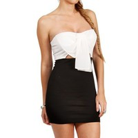 Ivory/Black Bow Top Dress