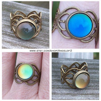 Mood Changing Petite Cabochon  Ring  with Heart by Angelof2