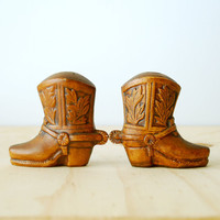 Vintage Cowboy Boot Salt and Pepper Shakers by Treasure Craft