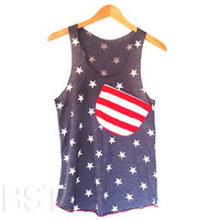 PRESALEFreedom Pocket Tank // Star Pocket by busyspinningthread