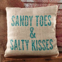 Sandy Toes & Salty Kisses Bright Burlap Accent Pillow - 8-in x 8-in.