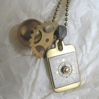 Tag Steampunk Necklace with Antique Brass Ball and by steamheat