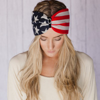 American Flag Headband Old Glorya Hair Band Turband American Flag Inspired Turband Headband Red White and Blue July 4th Fashion Accessory